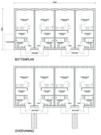 Hustillverkare Ljusnehus Flerfamiljshus plan