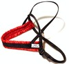 Småhundssele alac svart m röd satinfodrat bröstband - Visa mer information om den här produkten