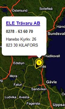 Karta Sverige-Kilafors