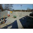Återuppbyggnad av djurstall efter brand- Gusselby. bild från insidan