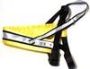 Spårsele alac svart med påsydd reflex och gult satinfodrat bröstband - Visa mer information om den här produkten