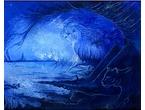 """Blue Lion"" 28x28cm - Akrylmålning - Privat ägo"