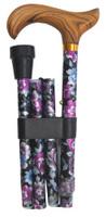 Käpp vikbar lila med silver blommor - Visa mer information om den här produkten