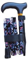 Käpp vikbar svart med blå blommor - Visa mer information om den här produkten