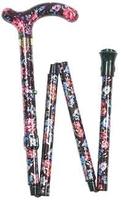 Käpp vikbar nätt blommig rosa, svart - Visa mer information om den här produkten
